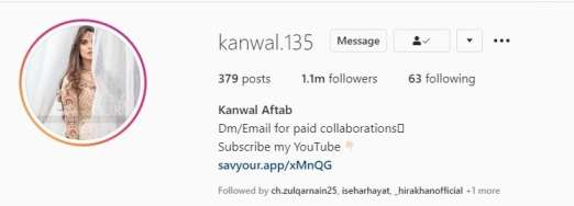 Kanwal Aftab Tiktok star biography and instagram  account profile followers and  pics